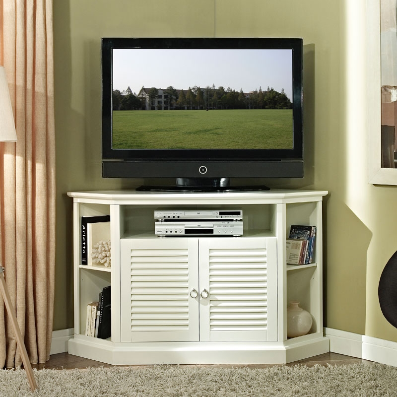 Innovative Preferred Corner TV Cabinets For Flat Screens With Doors Within Walker Edison Wood Highboy 55 Inch Corner Tv Cabinet Gloss White (Image 32 of 50)