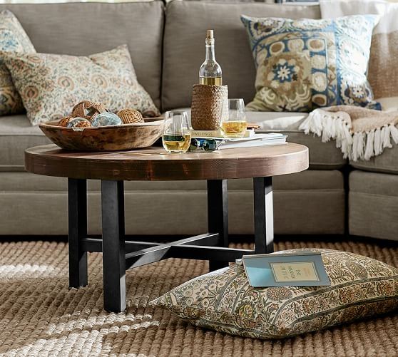 Innovative Preferred Griffin Coffee Tables Regarding Griffin Round Coffee Table Pottery Barn (View 9 of 50)