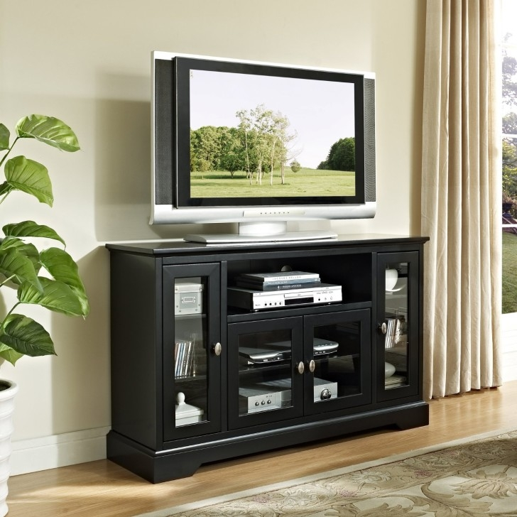 Innovative Premium Contemporary TV Cabinets For Flat Screens With Regard To Rectangle Black Wooden Tv Stand With Three Storage Placed On The (Image 37 of 50)