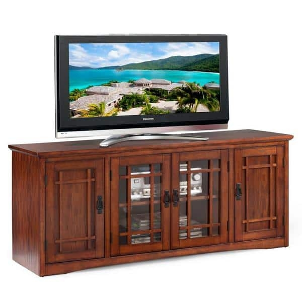 Innovative Premium Corner TV Stands For 60 Inch Flat Screens In Mission Oak Hardwood 60 Inch Tv Stand Free Shipping Today (Image 30 of 50)