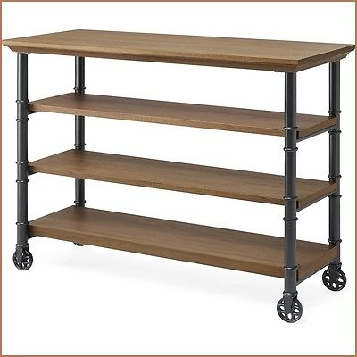 Innovative Premium Industrial Metal TV Stands With Industrial Rustic Woodgrain Console Table Tv Stand Kitchen Cart (Image 30 of 50)