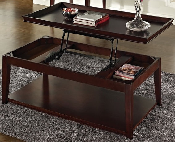 Innovative Premium Pop Up Top Coffee Tables Pertaining To Lift Top Coffee Table Pop Up Tray Style Casters Hidden Storage (Image 27 of 50)
