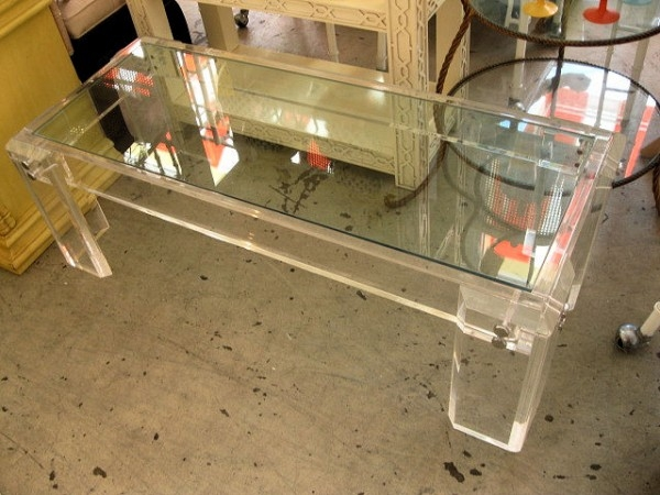 Innovative Premium Retro Glass Coffee Tables In Lucite Coffee Table Large Channeled Frosted Lucite Coffee Table (Image 31 of 50)