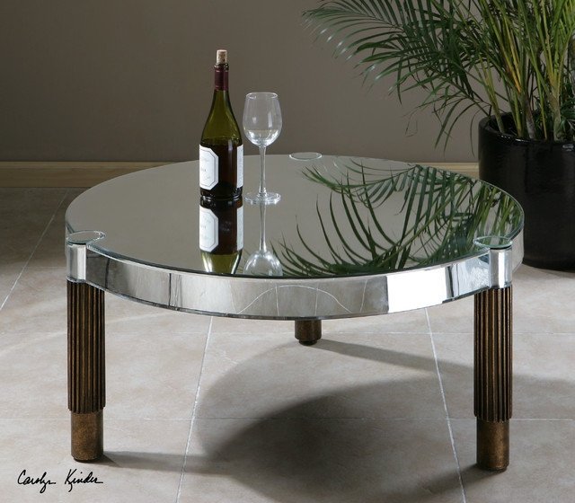 Innovative Premium Round Mirrored Coffee Tables Throughout Coffee Table Elegant Mirrored Coffee Table Round Glass Coffee (Image 25 of 40)