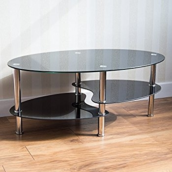 Innovative Series Of Coffee Tables With Chrome Legs Intended For Home Discount Elena Black And Clear Glass Coffee Table Amazonco (Image 39 of 50)