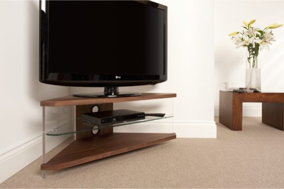 Innovative Series Of Contemporary Corner TV Stands With Regard To Furniture Brown Wooden Corner Tv Stand With Shelf And Drawers (View 3 of 50)