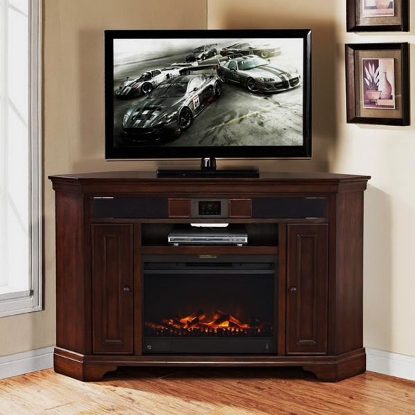 Innovative Series Of Corner 60 Inch TV Stands Within Tv Stands Affordable Corner Tv Stand With Fireplace Design  (Image 30 of 50)
