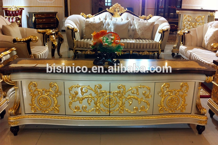 Innovative Series Of Gold TV Stands With Regard To Bisini Baroque Collection Luxury Antique Gold Leaf Tv Stand Buy (Image 37 of 50)