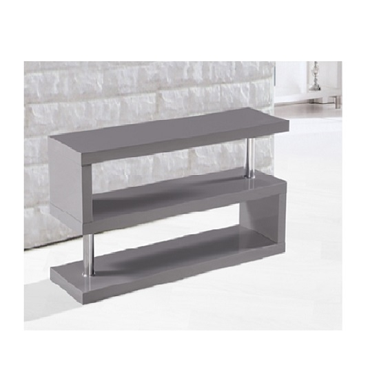 Innovative Series Of Grey TV Stands With Regard To Miami Tv Stand Shelving In High Gloss Grey 20476 Furniture (Image 36 of 50)