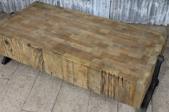 Innovative Series Of Industrial Style Coffee Tables Intended For Reclaimed Pine Coffee Table With Cast Iron Base (Image 34 of 50)