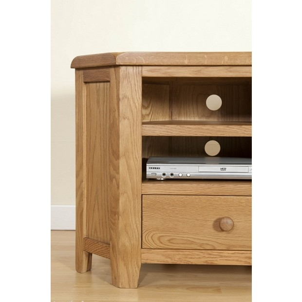 Innovative Series Of Light Oak Corner TV Cabinets With Regard To Cotswold Rustic Light Oak Corner Tv Unit Oak Furniture Uk (Image 37 of 50)