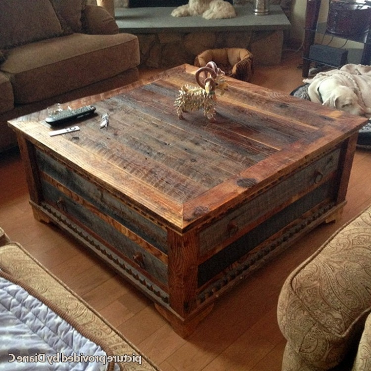 Innovative Series Of Square Storage Coffee Tables Intended For Square Reclaimed Wood Coffee Table Wb Designs (View 31 of 50)