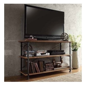 Innovative Series Of Vintage Industrial TV Stands With Regard To Amazon Tribecca Home Myra Vintage Industrial Brown Wood (Image 32 of 50)