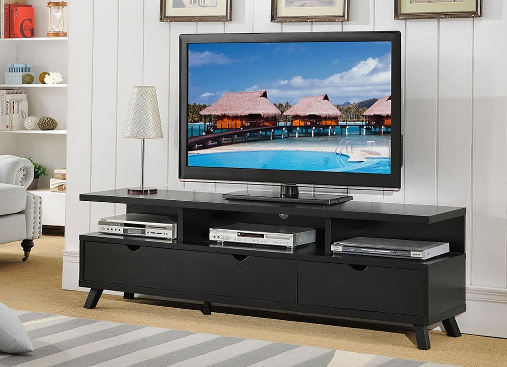 Innovative Top Black TV Stands With Drawers Pertaining To 70 Inch Black Tv Stand (Image 35 of 50)