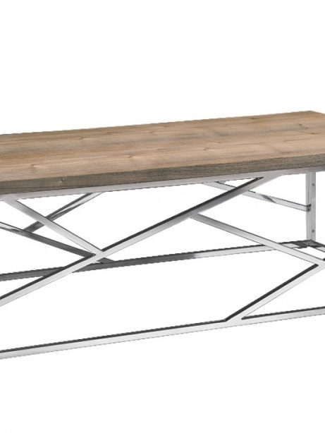 Innovative Top Chrome And Wood Coffee Tables Throughout Aero Chrome Wood Coffee Table Modern Furniture Brickell Collection (View 15 of 50)