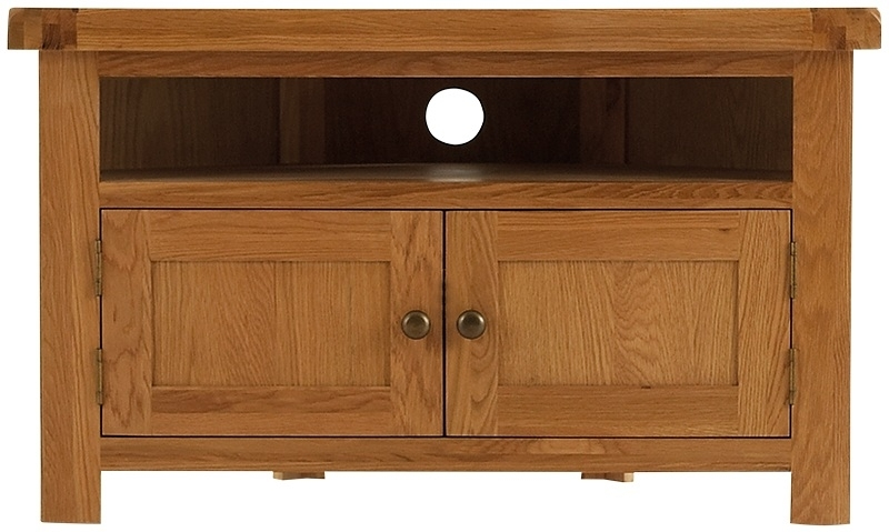 Innovative Top Chunky TV Cabinets Intended For Forest Oak Corner Tv Unit Tv Cabinets Dragon Furniture (Image 27 of 50)