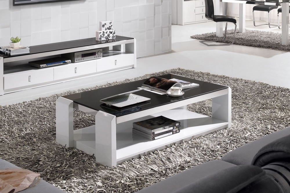 Innovative Top Gloss Coffee Tables Regarding Black And White Coffee Table Facil Furniture (Image 37 of 50)