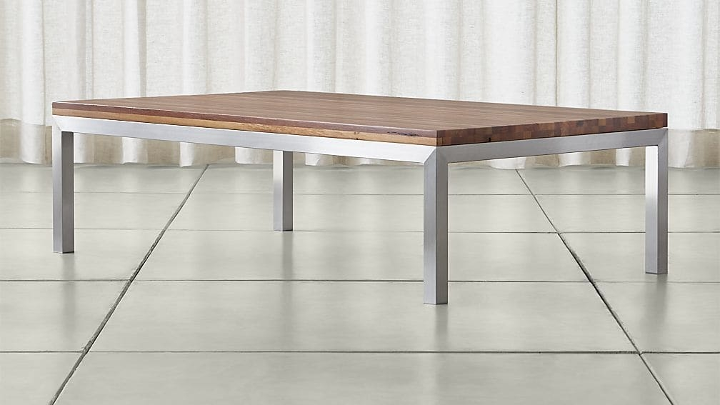 Innovative Top Large Rectangular Coffee Tables Regarding Parsons Reclaimed Wood Top Stainless Steel Base 60×36 Large (Image 30 of 40)
