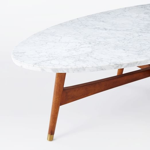 Innovative Top Oblong Coffee Tables Pertaining To Reeve Mid Century Oval Coffee Table Marble Top West Elm (Image 28 of 40)