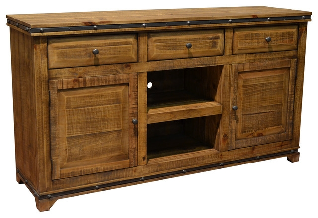 Innovative Top Rustic Wood TV Cabinets Intended For Addison Solid Wood Tv Stand Media Console Rustic Entertainment (View 34 of 50)