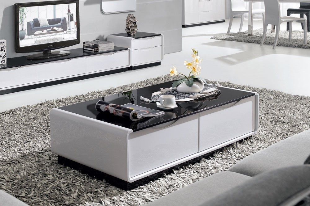 Innovative Top White And Black Coffee Tables Intended For White Gloss Furniture Unique Modern Designs (Image 22 of 40)