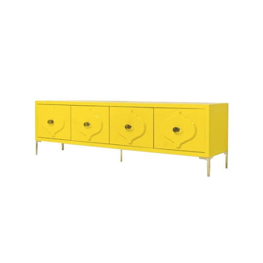 Innovative Top Yellow TV Stands Pertaining To Marrakesh 4 Door Credenza In Yellow Tv Stands Yellow Modshop (View 28 of 50)
