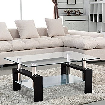 Innovative Trendy Elise Coffee Tables Throughout Home Discount Elise Rectangular Glass Coffee Table Black Amazon (View 40 of 40)