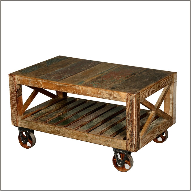 50 Photos Rustic Coffee Table With Wheels