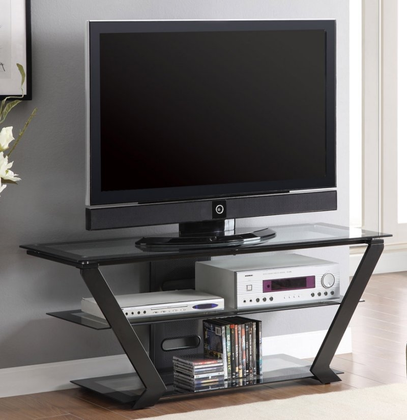 Innovative Trendy Sleek TV Stands For Cof701370 Sleek Tv Stand With Glass Shelves (View 39 of 50)