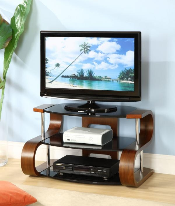 Innovative Trendy Trendy TV Stands In Curve S Shaped Walnut Veneer And Black Glass Tv Stand (View 10 of 50)