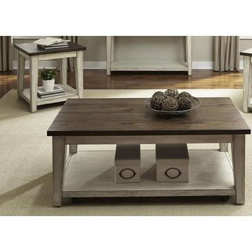 Innovative Unique 2 Piece Coffee Table Sets Throughout Liberty Furniture Lancaster 2 Piece Coffee Table Set In Weathered (View 21 of 50)