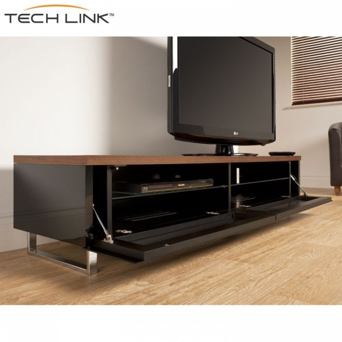 Innovative Unique Large TV Cabinets With Regard To Techlink Pm160w Panorama Piano Gloss Black And Walnut Large Tv (View 44 of 50)