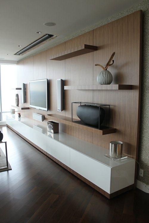 Innovative Unique Low Long TV Stands Regarding Alluring Modern Wall Unit With Simple Mount Shelves Displaying (View 23 of 50)