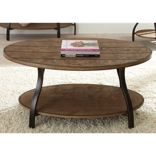 Innovative Unique Metal Oval Coffee Tables For Dante Oval Wood And Metal Coffee Table Greyson Living Free (View 18 of 50)