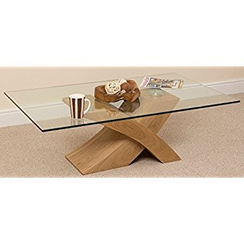 Innovative Unique Oak And Glass Coffee Tables Within Milano X Glass Wood Coffee Table Oak 135 W X 80 D X 45 H Cm (Image 31 of 50)