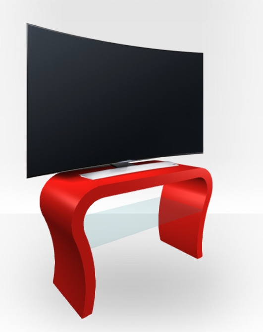 Innovative Unique Red Gloss TV Stands Intended For Red Gloss Tv Stand Curved Free Uk Delivery Zespoke (View 20 of 50)