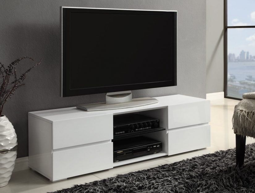 Innovative Unique Red Gloss TV Stands Regarding Red Cocoa Finish Tv Stand Caravana Furniture (View 31 of 50)