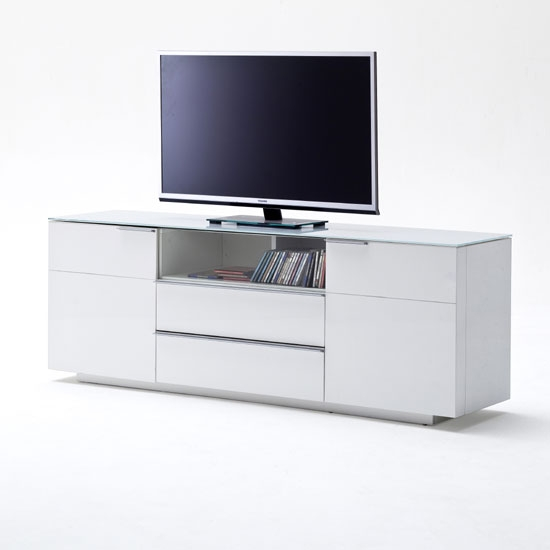 Innovative Unique Sideboard TV Stands With Regard To Canberra Sideboard Tv Stand In White Glass Top And High (View 14 of 50)