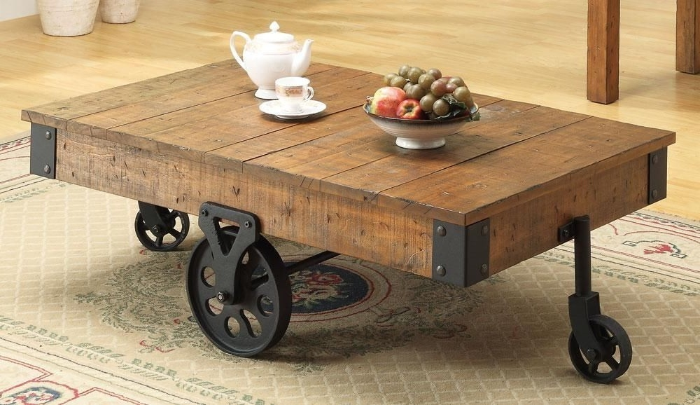 Innovative Unique Wheels Coffee Tables Pertaining To Beautiful Rustic Coffee Table Wheels (View 49 of 50)