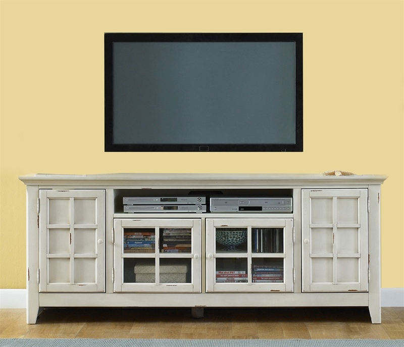 Innovative Unique Yellow TV Stands With Regard To New Generation 75 Inch Tv Stand In Vintage White Finish Liberty (View 13 of 50)