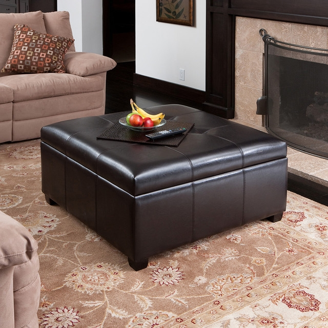 Innovative Variety Of Brown Leather Ottoman Coffee Tables With Storages Throughout Coffee Table With Storage Ottomans Underneath Lucinda Faux (Image 21 of 40)