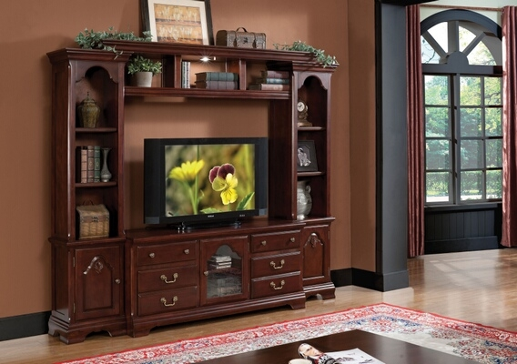 Innovative Variety Of Cherry Wood TV Stands With Regard To 4 Pc Hercules Cherry Finish (Image 35 of 50)