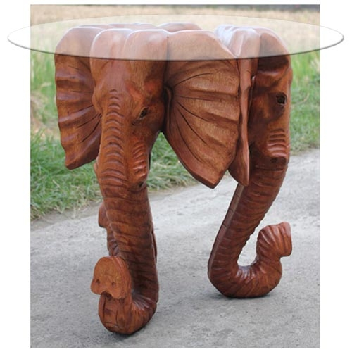 Innovative Variety Of Elephant Glass Coffee Tables Pertaining To Hand Carved Wooden Elephants Head Glass Coffee Table  (Image 29 of 40)