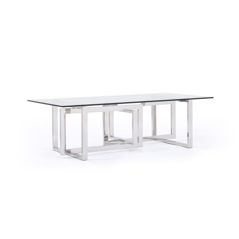 Innovative Variety Of Glass Steel Coffee Tables Within Modrest Valiant Modern Glass Stainless Steel Coffee Table Vig (Image 35 of 50)