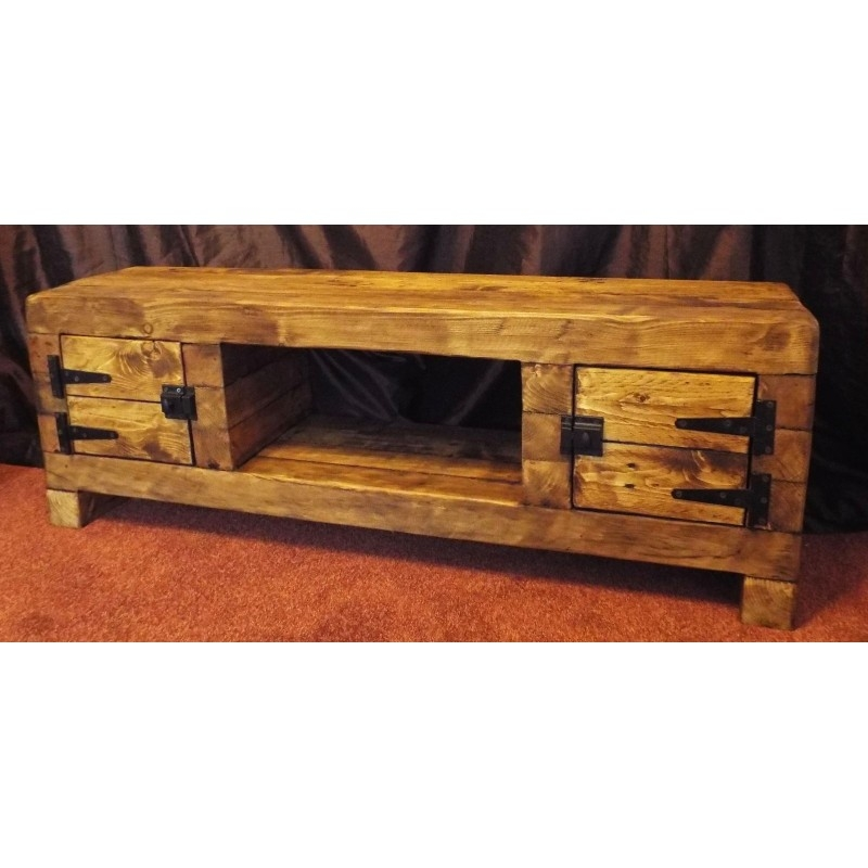 Innovative Variety Of Rustic Coffee Tables And Tv Stands Intended For Tv Stand Chunky Rustic Side Table Wooden Sleeper 120cm Cabinet (View 18 of 50)