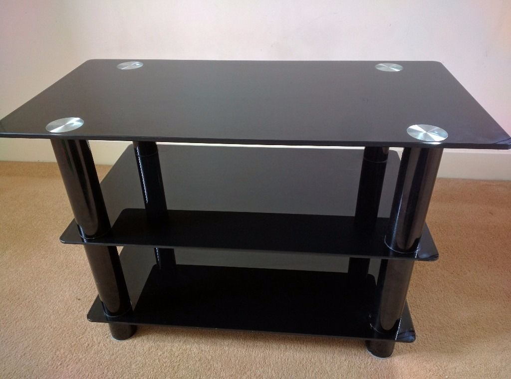 Innovative Variety Of Slimline TV Stands Regarding Tv Stand Black Glass 32 Inch Slimline Tv Stand In Ince (View 41 of 50)