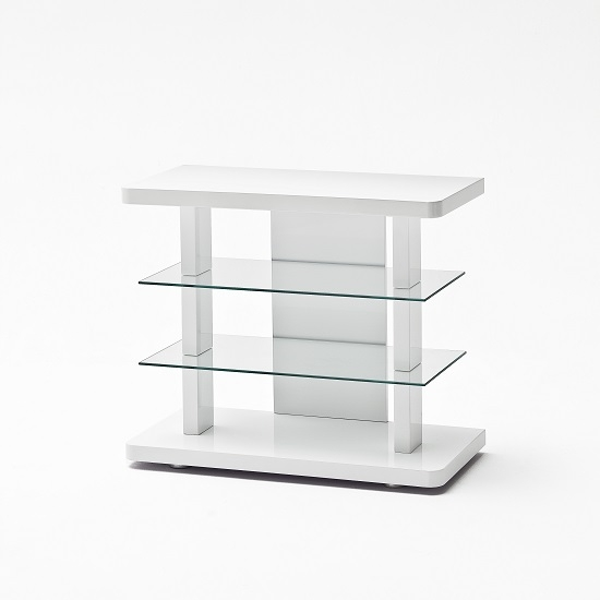 Innovative Variety Of Small White TV Stands Throughout Menial Lcd Tv Stand In High Gloss White With Clear Glass (Image 31 of 50)