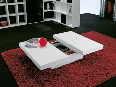 Innovative Variety Of Square White Coffee Tables Regarding Kyoto 4 Top Square White Storage Coffee Table Free Delivery (View 46 of 50)