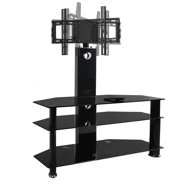 Innovative Variety Of White Cantilever TV Stands Regarding Cantilever Black Glass Tv Stand With Bracket 30 49 42 40 For (Image 30 of 50)
