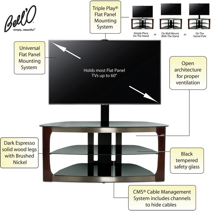 Innovative Well Known Bell'O Triple Play TV Stands Intended For Classic Flame Tpc2133 Bell O 52 Triple Playgao Universal Flat (Image 35 of 50)